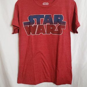 Star Wars Logo Tshirt Red Heathered Distressed Sm